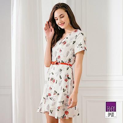 ILEY伊蕾 淡彩花卉印花洋裝(白)