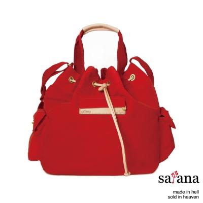satana - 抽繩水桶包 - 中國紅
