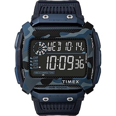 TIMEX 天美時 遠征系列 多功能電子錶-藍/54mm