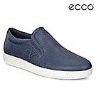 ECCO SOFT 1 MENS 極簡單色套入式牛皮休閒鞋 男-藍