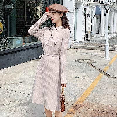 DABI 韓國風蝴蝶結針織收腰修身長袖洋裝