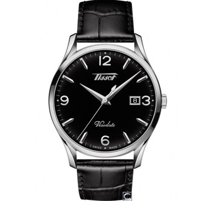 TISSOT HERITAGE VISODATE 復刻經典石英腕錶-黑/40mm