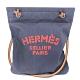HERMES 經典ALINE HERMES字母LOGO帆布肩背包(深藍X橘紅字) product thumbnail 1
