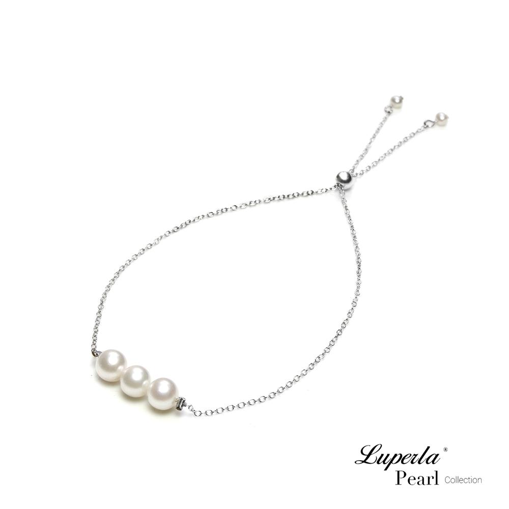 大東山珠寶 掌上明珠系列 心連心 925銀 日本海水珍珠手鍊 活扣式