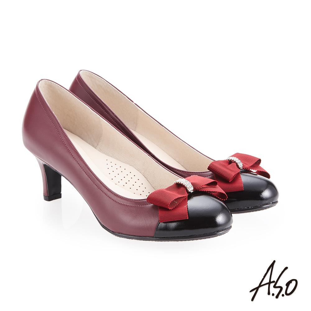 A.S.O 義式簡約 水鑽織帶蝴蝶結高跟鞋 正紅