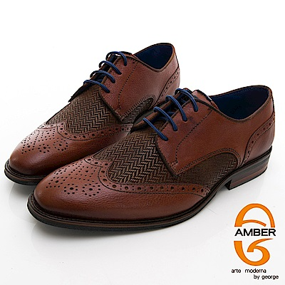 【AMBER】 尊爵時尚 葡萄牙進口綁帶箭頭紋拼接花雕紳士皮鞋-棕色