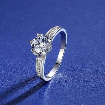 米蘭精品 莫桑鑽戒指925純銀開口戒-1克拉花苞六爪鑲嵌聖誕節情人節生日禮物女飾品2色73yk75