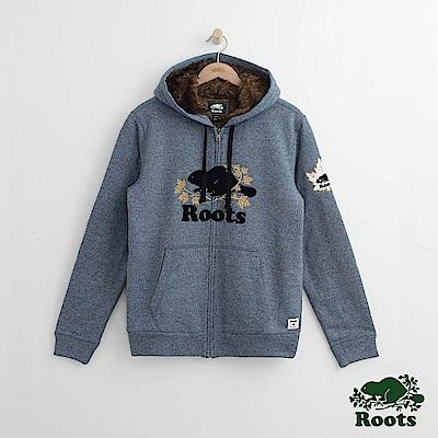 Roots 男裝-周年系列 庫柏楓葉毛毛連帽外套-藍