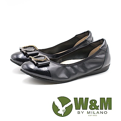 W&M 漆皮皮革拼接U型環扣娃娃鞋 女鞋 - 黑(另有古銅)