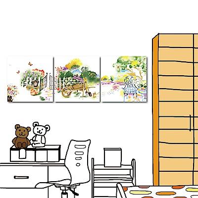 橙品油畫布 三聯式 無框畫掛畫-夢鄉花園40x40cm