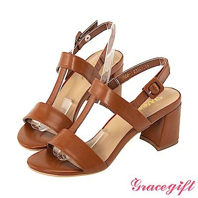 Grace gift X Wei-聯名鏤空T字方釦高跟涼鞋 棕