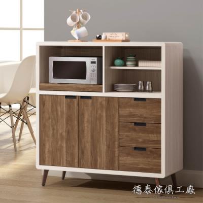 D&T 德泰傢俱 Miduo北歐胡桃木4尺餐邊櫃-120x45.5x127cm