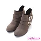bellwink 小V金屬後拉鍊低跟靴-灰色-b9705gy