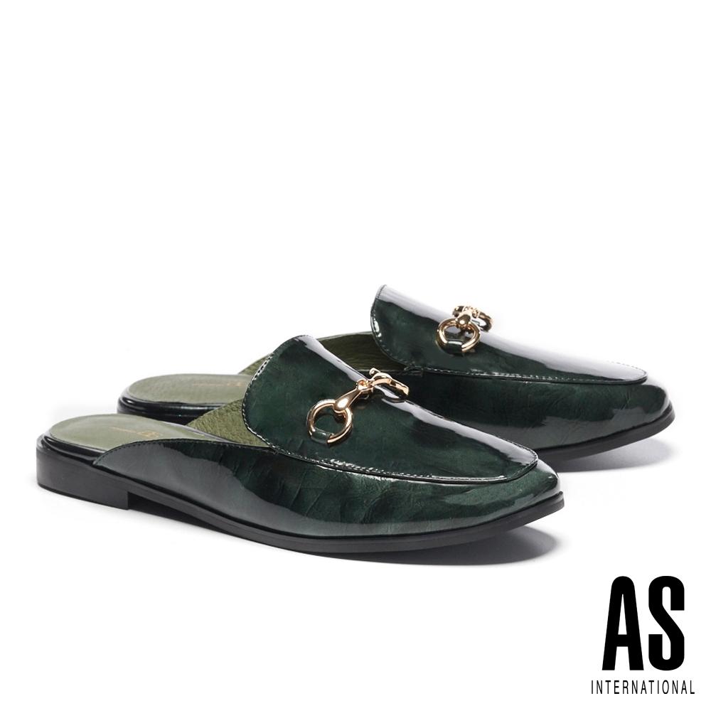 穆勒鞋 AS 復刻經典時尚馬銜釦全真皮低跟穆勒拖鞋-綠