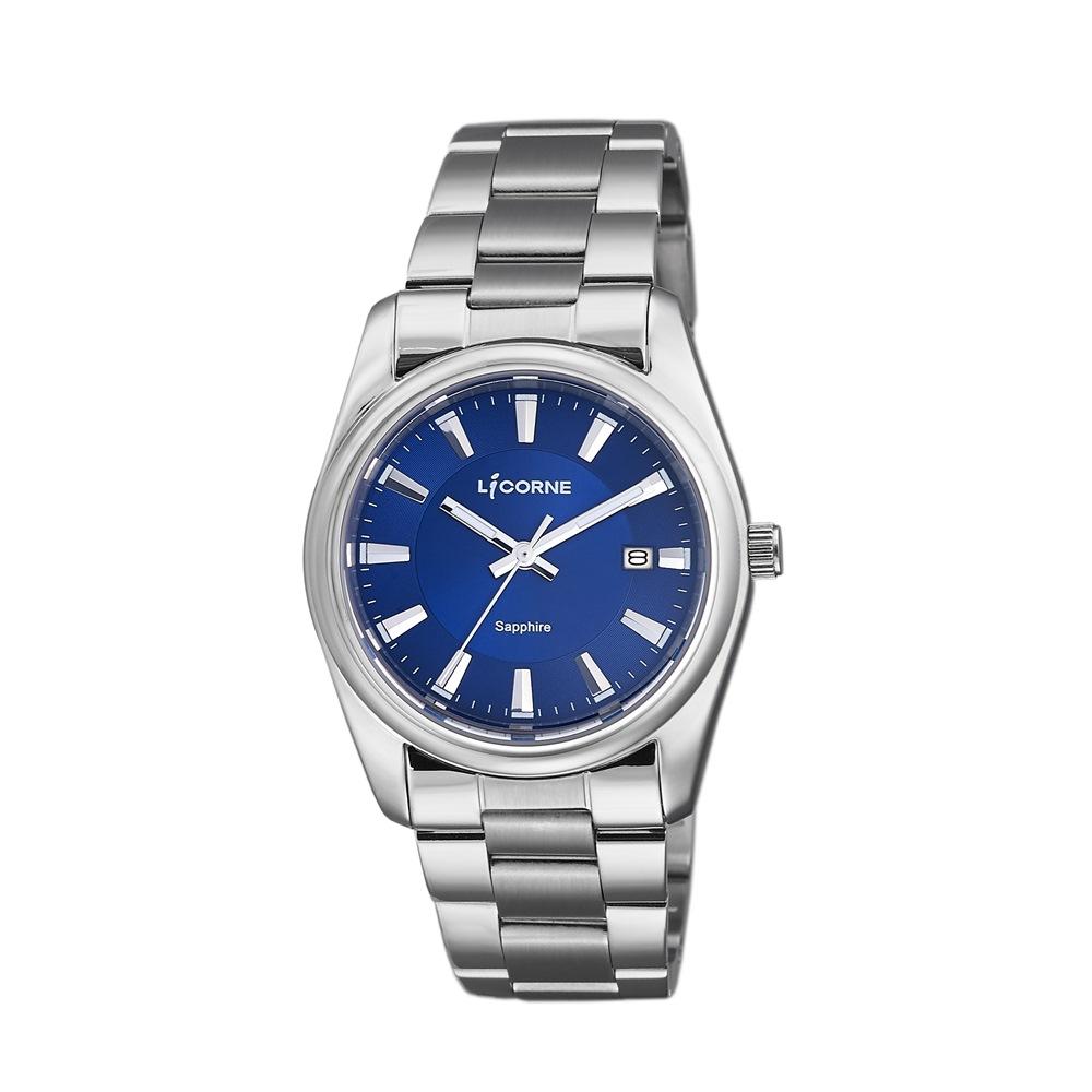 LICORNE 力抗錶 都會款 簡約風格手錶 藍×銀/36mm