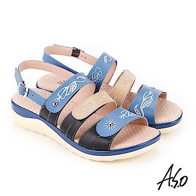 A.S.O 挺麗氣墊 全真皮撞色圖騰抗菌奈米鞋墊休閒涼鞋 藍