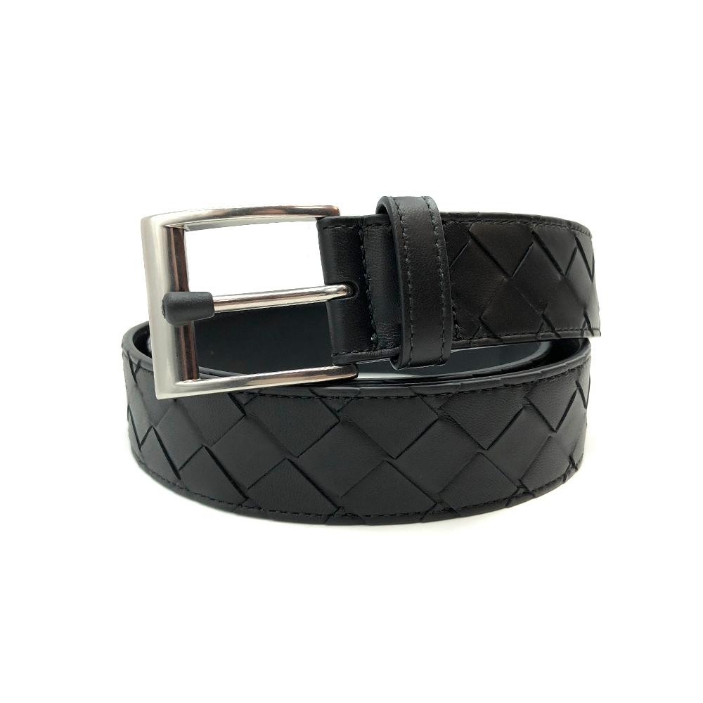 BOTTEGA VENETA 新版寬格設計編織牛皮皮帶-95cm (黑)