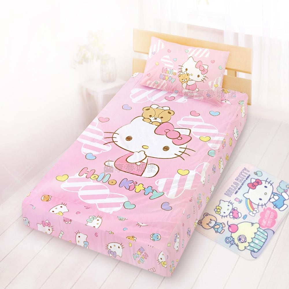 享夢城堡 單人床包枕套3.5x6.2二件組-HELLO KITTY 糖果熊-粉.綠