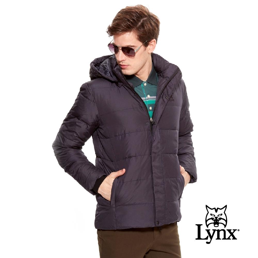 【Lynx Golf】男款防風連帽LXG系列羽絨長袖外套-黑色