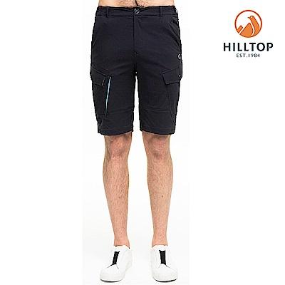 【hilltop山頂鳥】男款超潑水抗UV彈性短褲S09M73無月黑