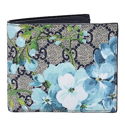 GUCCI GG Supreme Blooms系列花卉圖案摺疊短夾(藍)