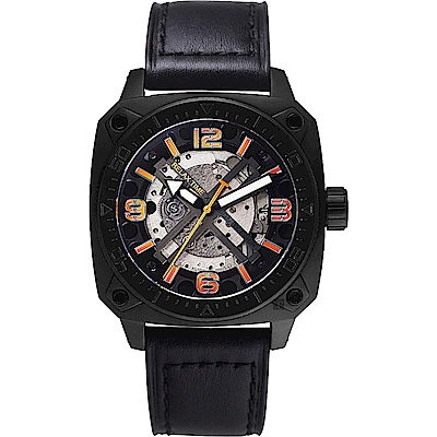 Relax Time RT39 X 鏤空機械限量腕錶-黑x橘時標/45mm