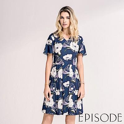 EPISODE - 滿版花朵縮腰設計洋裝(藍)