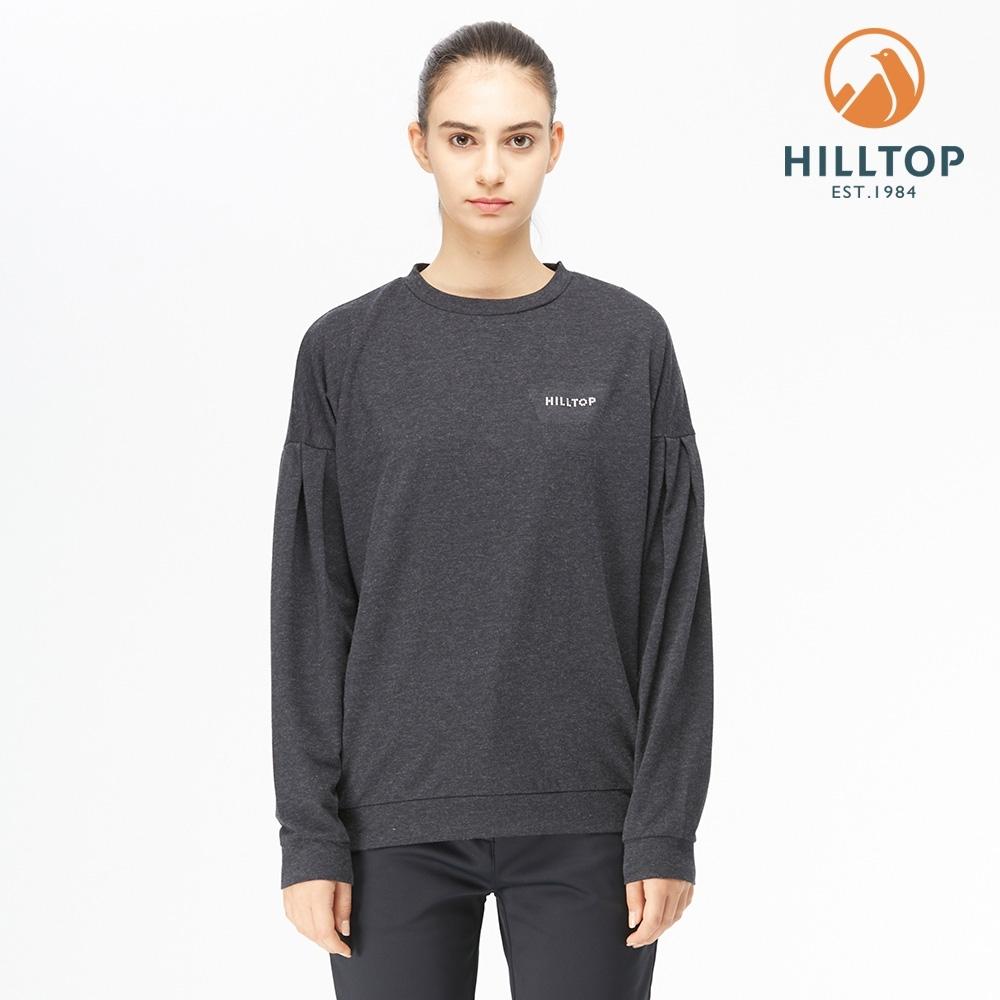 【hilltop山頂鳥】女款POLYGIENE抗菌落肩剪裁保暖刷毛上衣H51FK0黑美人