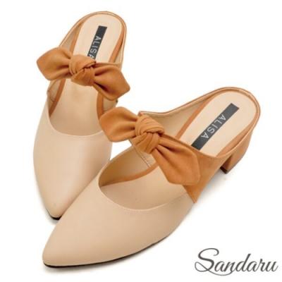 山打努SANDARU-MIT蝶結配色尖頭穆勒鞋-米棕