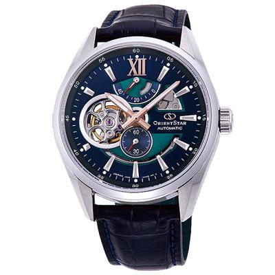 ORIENT東方STAR東方之星真皮機械錶手錶RE-DK 0002 L-藍綠/ 41 mm