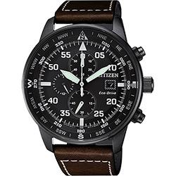 CITIZEN 星辰 光動能飛行家計時手錶-黑x咖啡/44mm