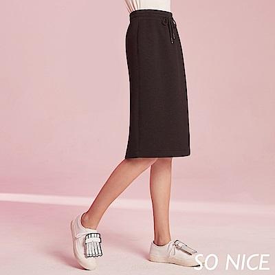 SO NICE簡約抽繩空氣棉及膝裙