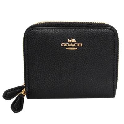 COACH黑色荔枝紋全皮雙層ㄇ型拉鍊短夾