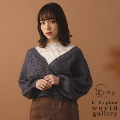 E hyphen 麻花辮蓬袖開襟針織罩衫