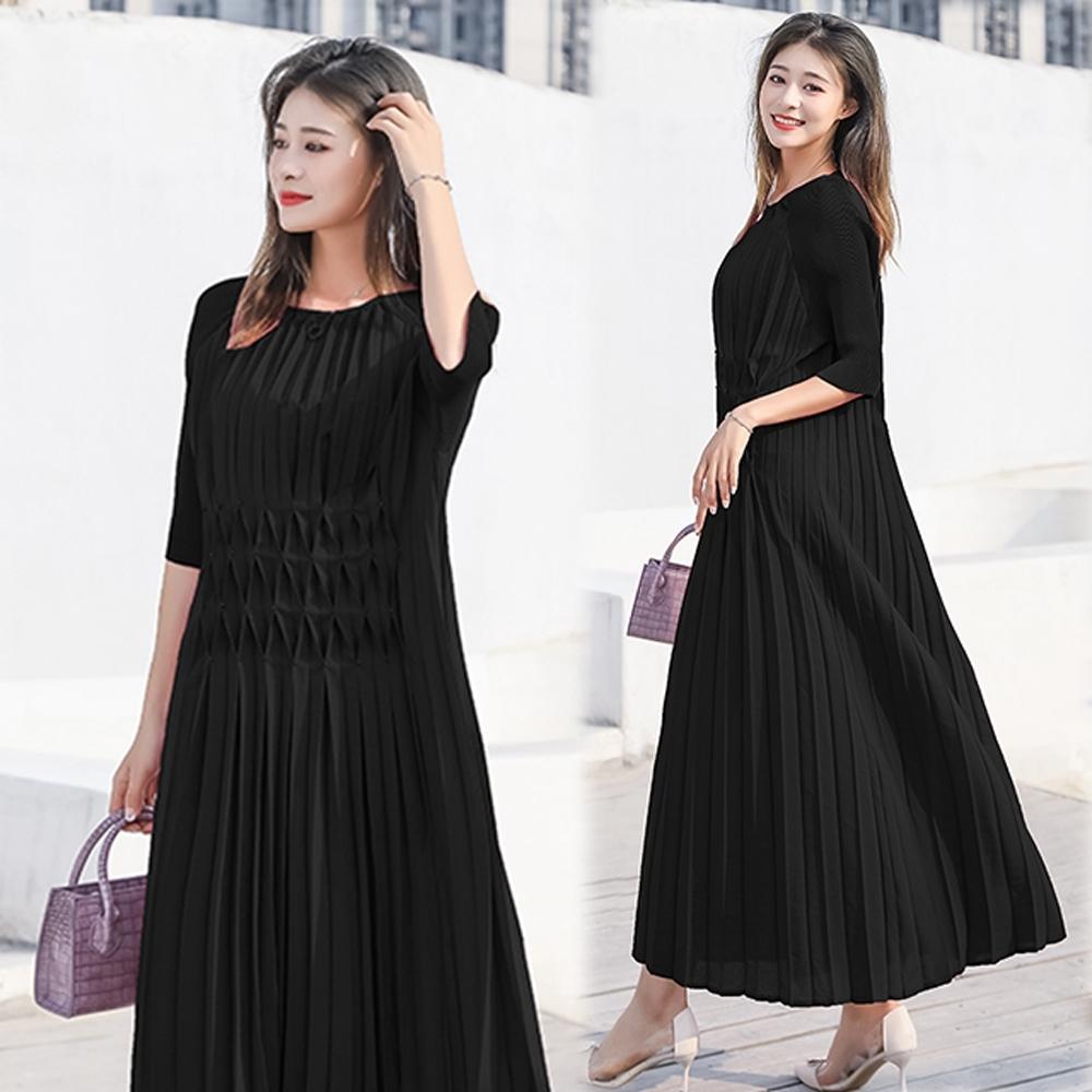 【KEITH-WILL】(預購)飄逸仙女壓褶洋裝(共4色) (黑色)