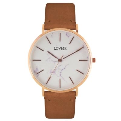 LOVME 大理石紋風格時尚手錶-IP玫x咖帶/41mm
