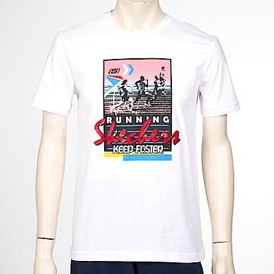 SKECHERS 男短袖衣 - SDAMF18B026-BHWT
