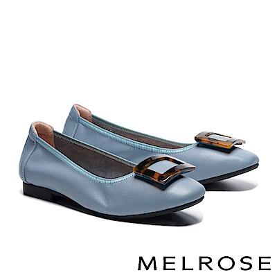 低跟鞋 MELROSE 時尚復古豹紋方釦全真皮低跟鞋-藍
