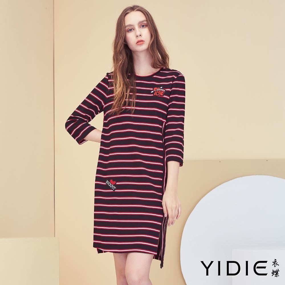 【YIDIE衣蝶】字母愛心刺繡撞色橫條印花洋裝