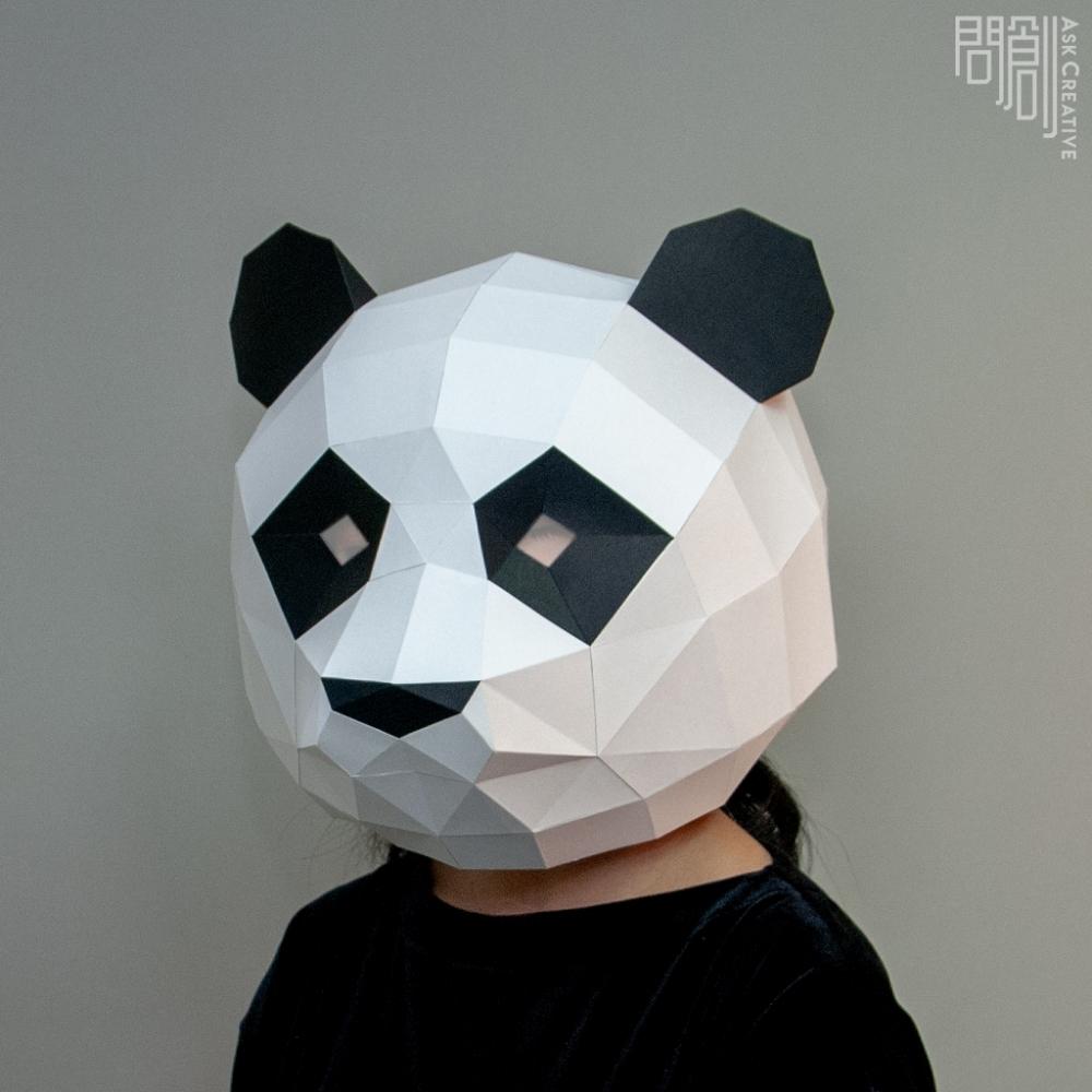 問創設計 DIY手作3D紙模型 頭套 面具系列 - 熊貓/貓熊面具 (大人款)
