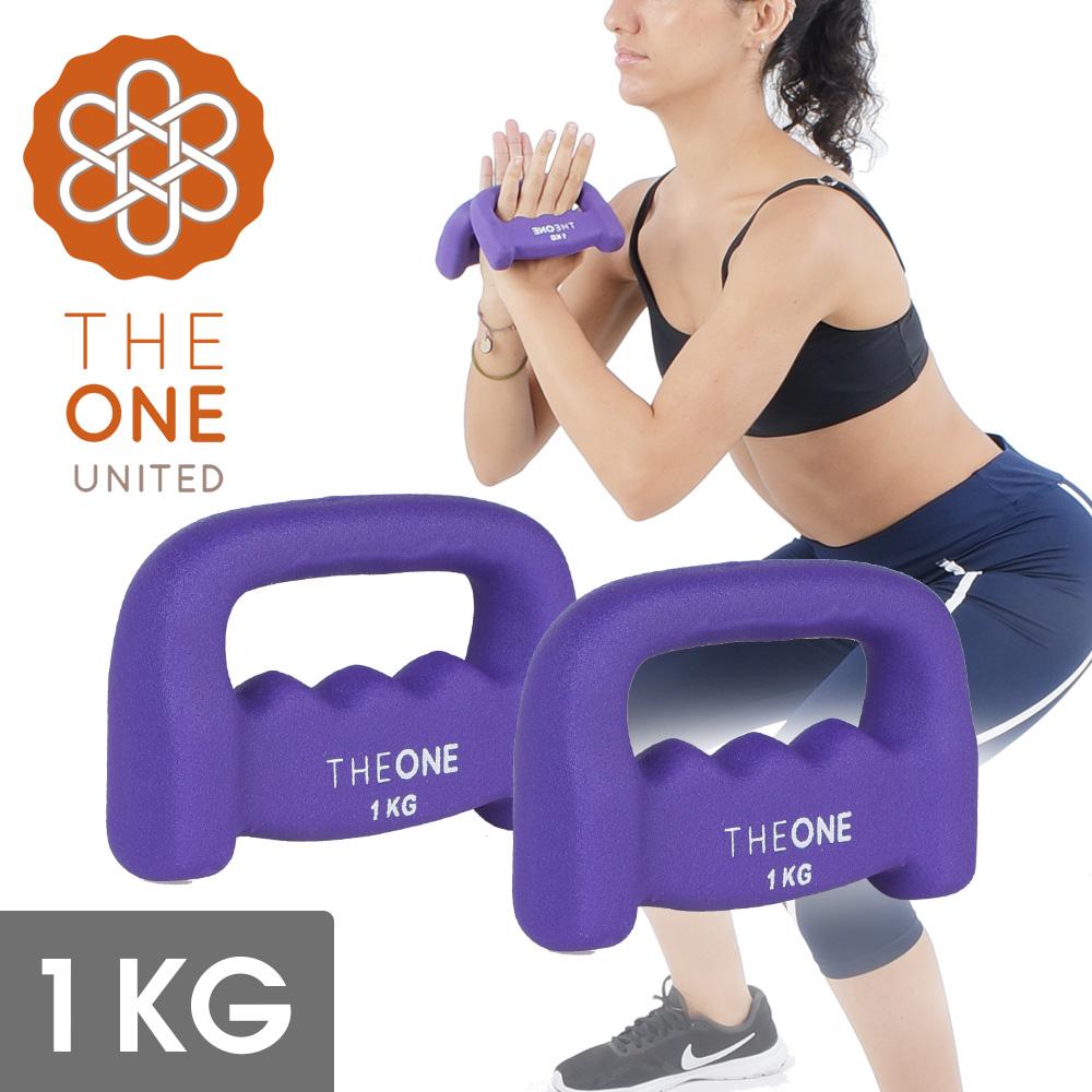 【The One】瑜珈健身 D型包膠鑄鐵啞鈴/韻律啞鈴(2入)-1公斤