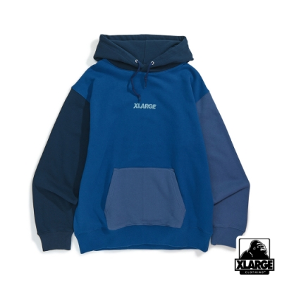 XLARGE COLOR BLOCK PULLOVER HOODED SWEAT連帽上衣-藍