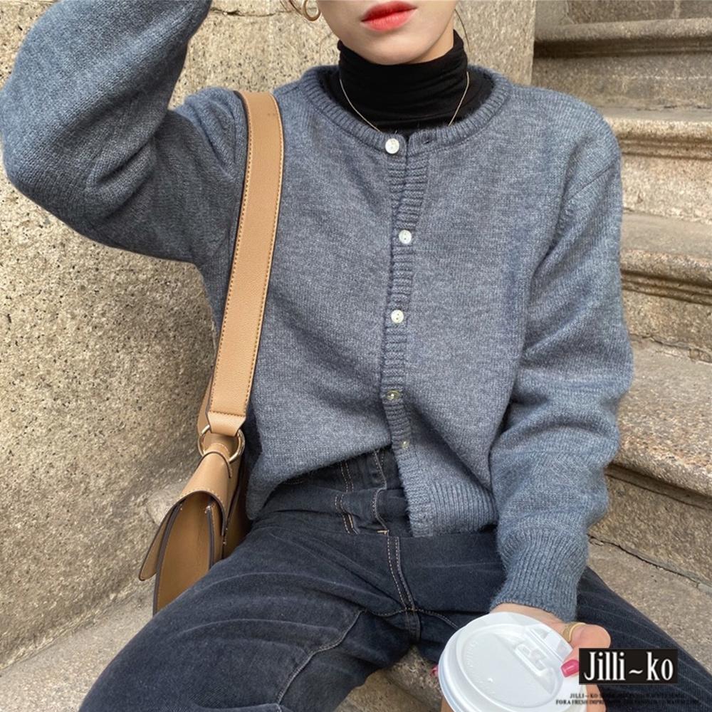 JILLI-KO 純色簡約開扣軟糯針織衫- 灰色