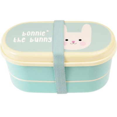 《Rex LONDON》餐具+雙層兒童便當盒(兔兔)