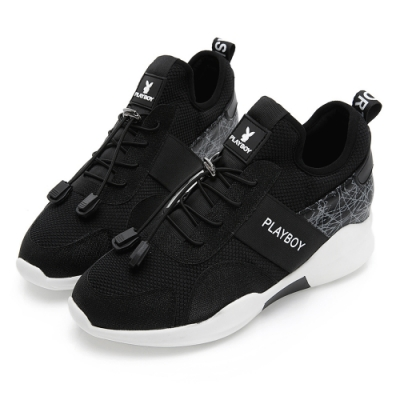 PLAYBOY 直紋線條拼接休閒鞋-黑白-Y5781C1
