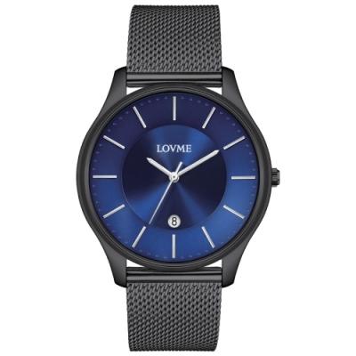 LOVME Simple米蘭帶款時尚手錶-IP黑x藍/41mm