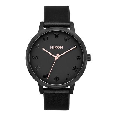 NIXON  Mickey  90 週年聯名回憶紀念浮雕腕錶-黑皮帶(A 1083096 )