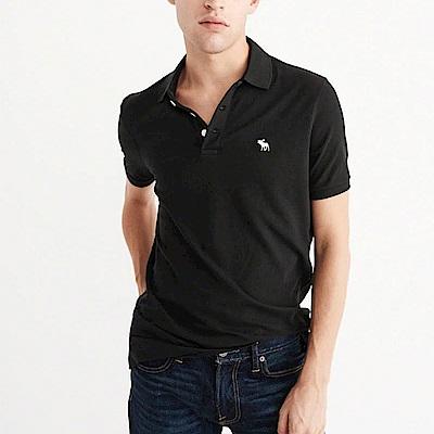 A&F 經典電繡麋鹿短袖Polo衫-黑色 AF Abercrombie