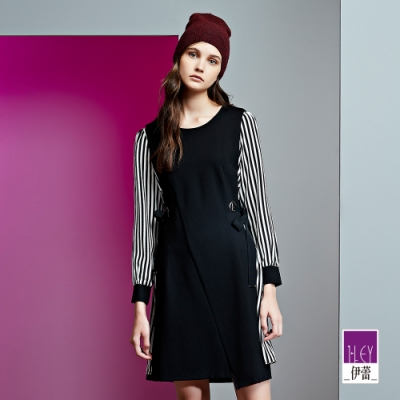 ILEY伊蕾 條紋假兩件洋裝(黑)