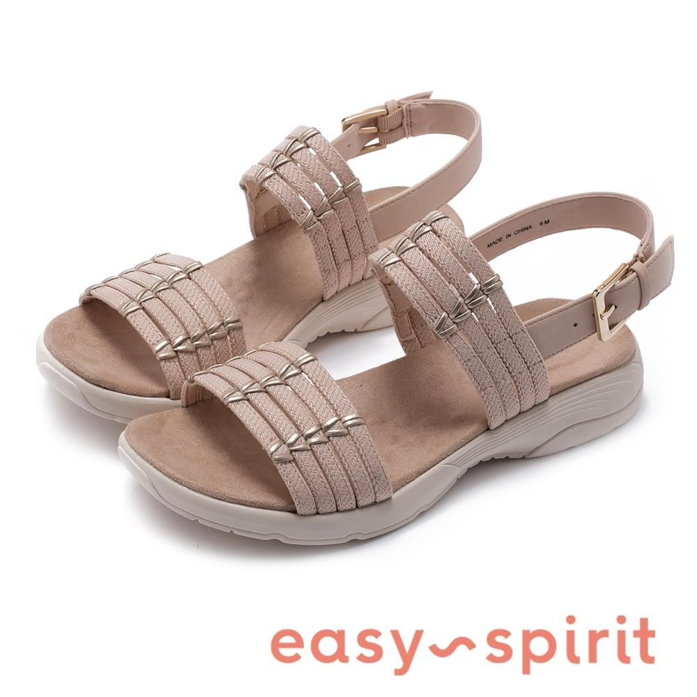 Easy Spirit-seTULSI2-A 青春夏日 精選皮料金屬配飾雙帶涼鞋-奶茶杏